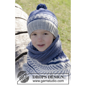 Little Adventure Set by DROPS Design - Knitted Multi-coloured Hat and Neck Warmer Pattern size 3/5 - 10/12 years