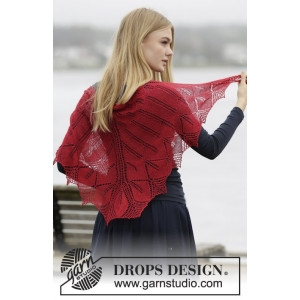 Autumn Leaf by DROPS Design - Knitted Shawl with Lace and Leaves Pattern 140x70 cm