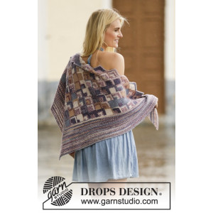 Piece by Piece by DROPS Design - Knitted Shawl with Textured Pattern 170x78 cm