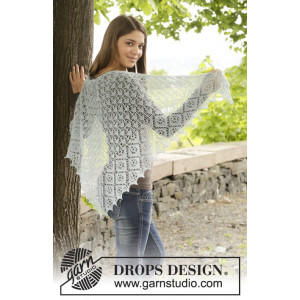 First Frost by DROPS Design - Knitted Shawl with Lace Pattern 140x76 cm