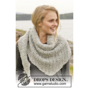 Iceland by DROPS Design - Knitted Scarf in Garter Stitch and Lace Pattern 175x45 cm