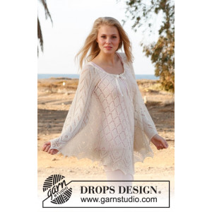 Honeymoon by DROPS Design - Knitted Poncho with Lace Pattern str S/M/L - XL/XXL/XXXL