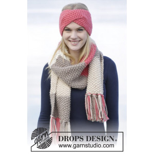 Eyes On Me by DROPS Design - Knitted Head Band and Scarf in Moss Stitch Pattern 160x33 cm