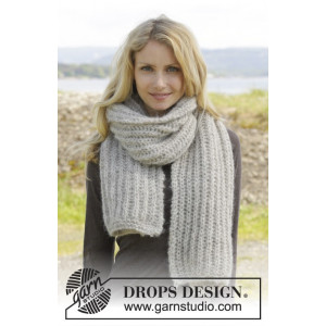 Grey Mist by DROPS Design - Knitted Scarf with English Rib Pattern 175x35 cm