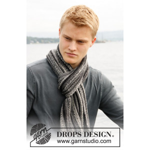 Caspian by DROPS Design - Knitted Men's Scarf in Garter Stitch Pattern 150x22 cm