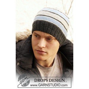 Ringo by DROPS Design - Knitted Men's Hat with Strips in Stocking stitches Pattern S/M - M/L