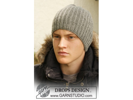 fda89f53fa1 Tristan by DROPS Design - Knitted Men s Hat with Textured Pattern S M - L