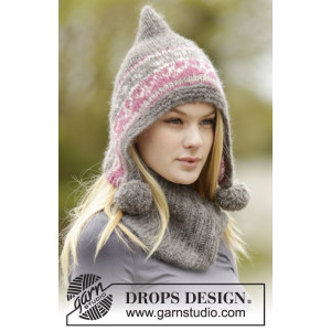 Sweet Winter Hat by DROPS Design - Knitted Hat and Neck Warmer with Nordic Pattern size S - XL
