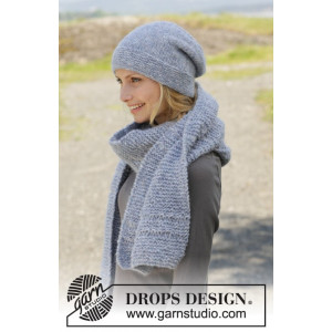 Serene Skies by DROPS Design - Knitted Hat and scarf in Garter Stitches pattern size S/M - L/XL