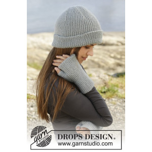 Paula by DROPS Design - Knitted Hat and Open-finger Mittens Pattern size S/M - M/L