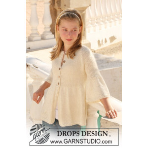 Abril by DROPS Design - Knitted Jacket with rib and Raglan Pattern size 7/8 years - 13/14 years
