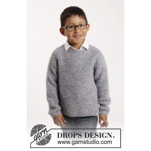 Modest Michael by DROPS Design - Knitted Jumper in Garter Stitch Pattern size 12/18 months - 9/10 years