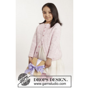 Precious Piper by DROPS Design - Knitted Cardigan in Stocking Stitches Pattern size 12 months - 10 years
