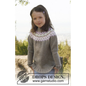 Silje jumper by DROPS Design - Knitted Jumper with Round Yoke Pattern size 3/4 - 11/12 years