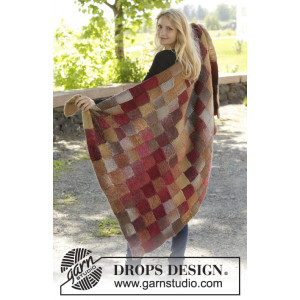 Domino by DROPS Design - Knitted Blanket with Entrelac Pattern 150x93 cm