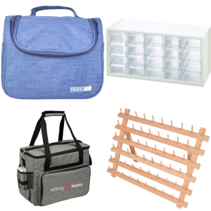 Storage - bags, yarn bowls, plastic boxes and sewing boxes