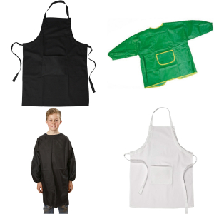 Aprons and disposable latex gloves